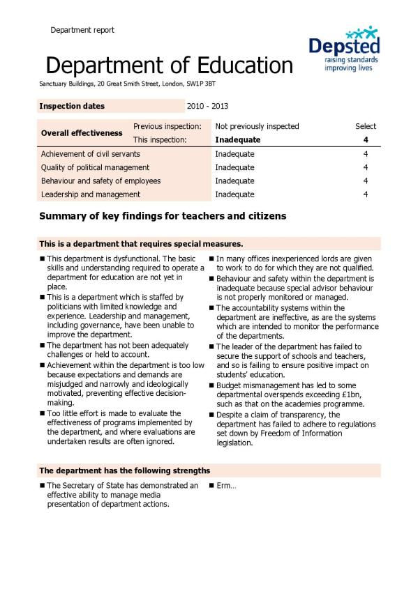 DfE Ofsted Report?